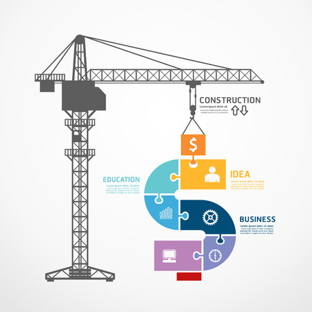Photo pour infographic Template with construction tower crane jigsaw banner . concept vector illustration - image libre de droit