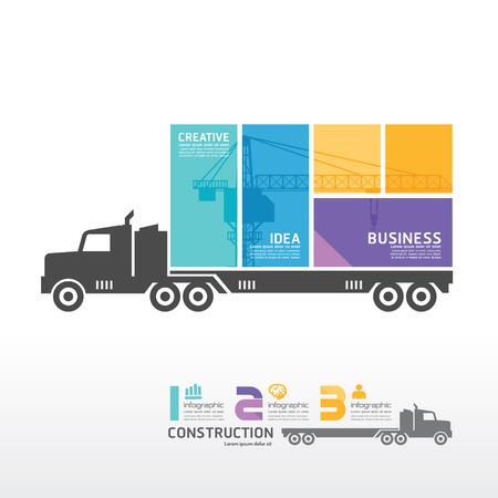Illustration pour infographic Template with Container truck banner   concept vector illustration - image libre de droit