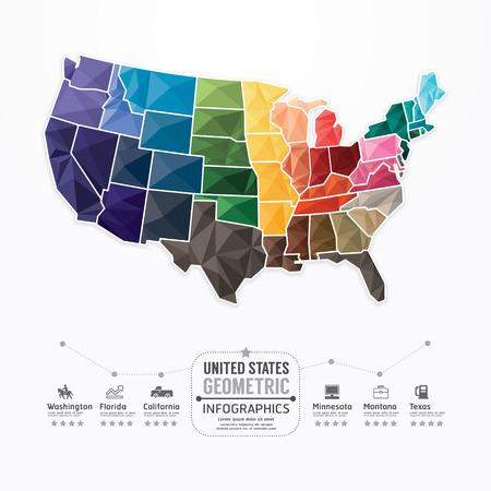 Illustration pour United states Map Infographic Template geometric concept banner. vector illustration - image libre de droit