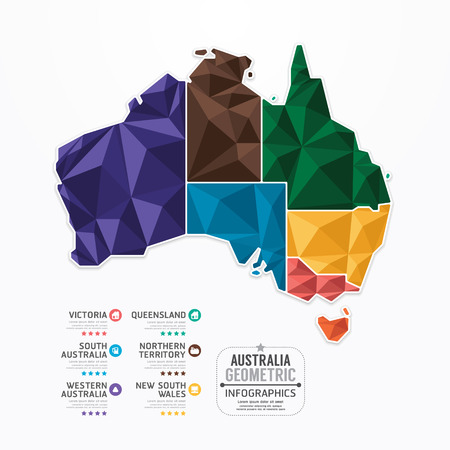 Illustration for Australia Map Infographic Template geometric concept banner  vector illustration - Royalty Free Image