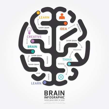 Illustration pour infographics vector brain design diagram line style template - image libre de droit