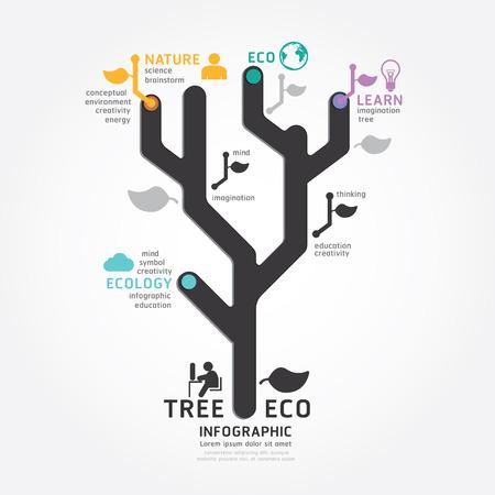 Ilustración de infographics vector tree design diagram line style template - Imagen libre de derechos