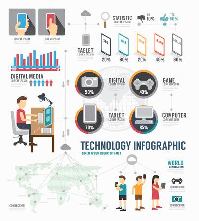 Illustration pour Infographic Technology digital template design . concept vector illustration - image libre de droit