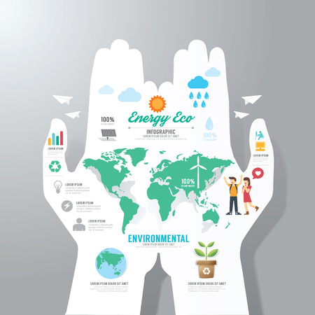 Illustration for infographic Template with hand paper banner . eco concept vector illustration - Royalty Free Image
