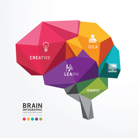 Foto de Vector Brain Design Conceptual Polygon Style,Abstract vector Illustration - Imagen libre de derechos