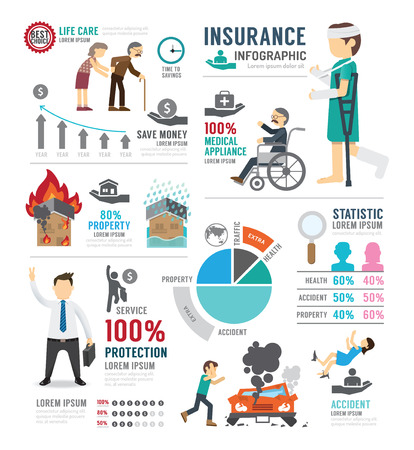 Illustration pour Insurance Template Design Infographic . Concept Vector Illustration - image libre de droit