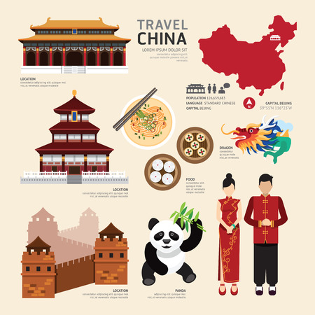 Illustration pour China Flat Icons Design Travel Concept.Vector - image libre de droit