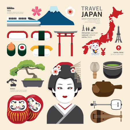 Foto per Japan Flat Icons Design Travel Concept.Vector - Immagine Royalty Free