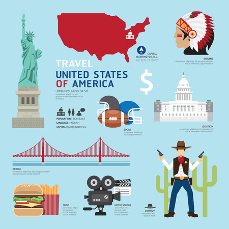Illustration pour USA Flat Icons Design Travel Concept.Vector - image libre de droit