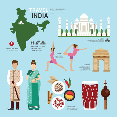 Illustration pour Travel Concept India Landmark Flat Icons Design .Vector Illustration - image libre de droit