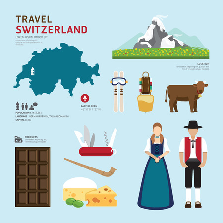 Illustration pour Travel Concept Switzerland Landmark Flat Icons Design .Vector Illustration - image libre de droit