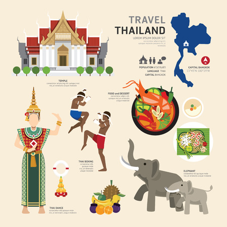 Illustration pour Travel Concept Thailand Landmark Flat Icons Design .Vector Illustration - image libre de droit