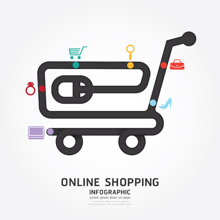 Ilustración de infographics vector online shopping design diagram line style template - Imagen libre de derechos