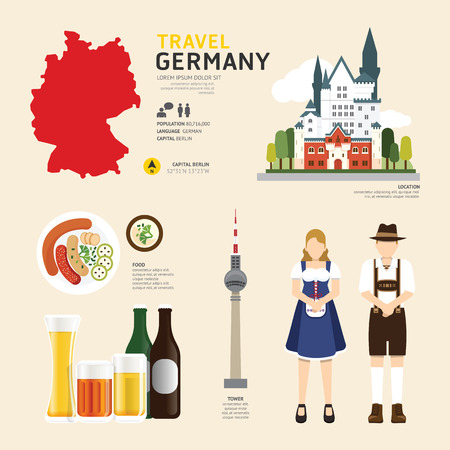 Illustration pour Travel Concept Germany Landmark Flat Icons Design .Vector Illustration - image libre de droit