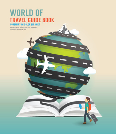 Foto de World travel design open book guide concept vector illustration. - Imagen libre de derechos