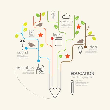 Illustration pour Flat linear Infographic Education Pencil Tree Outline concept.Vector Illustration. - image libre de droit