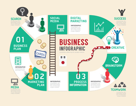 Illustration pour Business board game concept infographic step to successful,vector illustration - image libre de droit