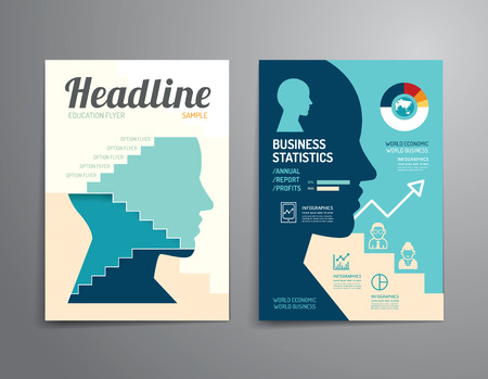 Ilustración de Vector brochure, flyer, magazine cover booklet poster design template.layout education annual report A4 size. - Imagen libre de derechos