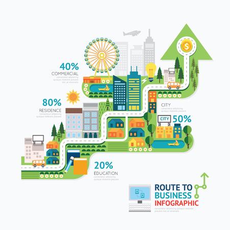 Illustration pour Infographic business arrow shape template design.route to success concept vector illustration / graphic or web design layout. - image libre de droit