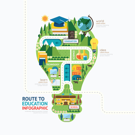 Ilustración de Infographic education light bulb shape template design.learn concept vector illustration / graphic or web design layout. - Imagen libre de derechos