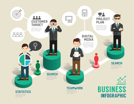 Ilustración de Business board game concept infographic step to successful,vector illustration - Imagen libre de derechos