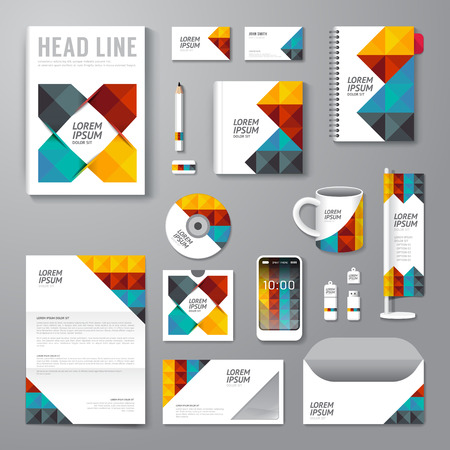 Illustration pour Vector brochure, flyer, magazine cover booklet poster design template/ layout business stationery annual report A4 size/ set of corporate identity template. - image libre de droit