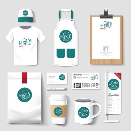 Foto de Vector restaurant cafe set flyer, menu, package, t-shirt, cap, uniform design/ layout set of corporate identity mock up template. - Imagen libre de derechos