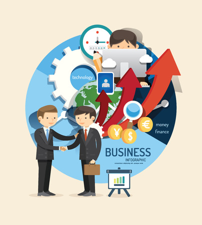 Ilustración de Boy learn business and finance design infographic,learn concept vector illustration - Imagen libre de derechos