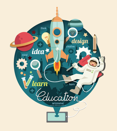 Illustration pour Boy on space with rocket education design infographic,learn concept vector illustration - image libre de droit