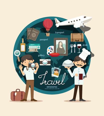 Ilustración de Boy travel plan on vacation design infographic,learn concept vector illustration - Imagen libre de derechos
