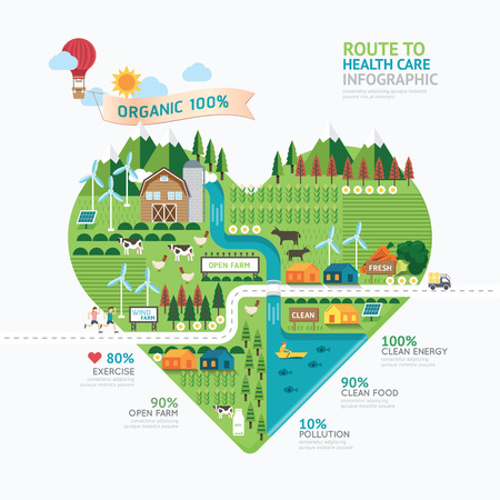 Illustration pour Infographic health care heart shape template design.route to healthy concept vector illustration / graphic or web design layout. - image libre de droit