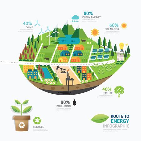 Ilustración de Infographic energy leaf shape template design.route to clean energy concept vector illustration / graphic or web design layout. - Imagen libre de derechos
