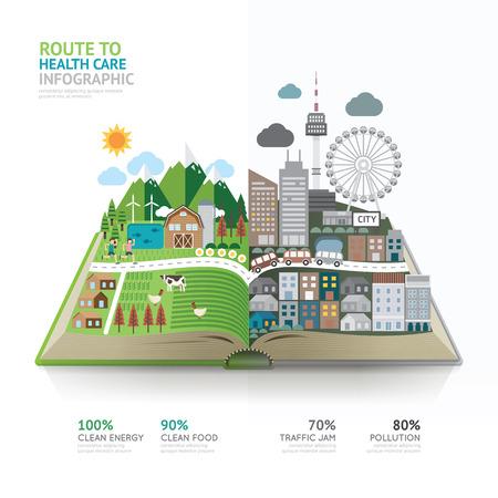 Illustrazione per Infographic health care on book template design.route to healthy concept vector illustration / graphic or web design layout. - Immagini Royalty Free