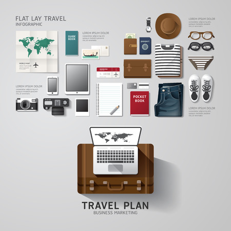 Foto de Infographic travel business flat lay idea. Vector illustration hipster concept.can be used for layout, advertising and web design. - Imagen libre de derechos