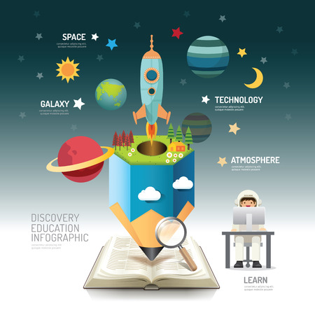 Illustration pour Open book infographic atmosphere pencil with rocket vector illustration. education discovery.can be used for layout, banner and web design. - image libre de droit