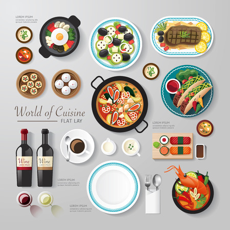 Illustration pour Infographic food business flat lay idea. Vector illustration hipster concept.can be used for layout, advertising and web design. - image libre de droit