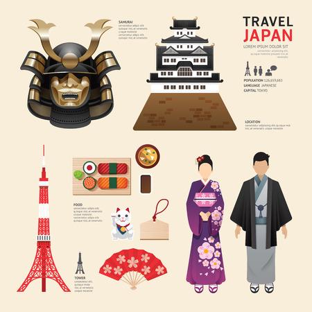 Ilustración de Japan Flat Icons Design Travel Concept.Vector - Imagen libre de derechos