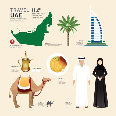 Illustration pour UAE United Arab Emirates Flat Icons Design Travel Concept.Vector - image libre de droit
