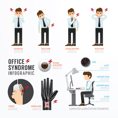 Illustration pour Infographic office syndrome Template Design . Concept Vector illustration - image libre de droit