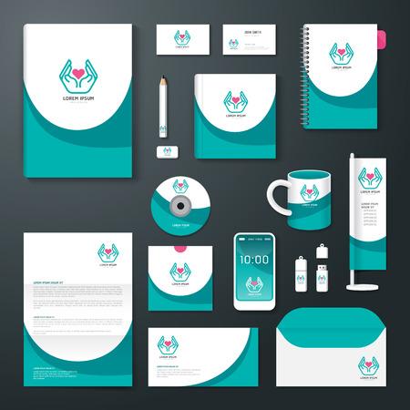 Ilustración de Vector brochure, flyer, magazine cover booklet poster design template/ layout business stationery annual report A4 size/ set of health corporate identity template. - Imagen libre de derechos