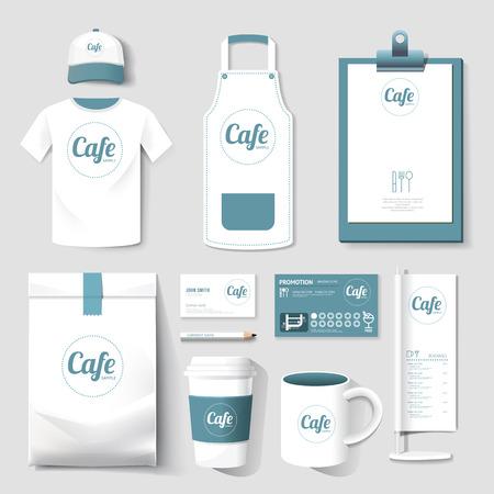 Foto de Vector restaurant cafe set flyer, menu, package, t-shirt, cap, uniform design/ layout set of corporate identity template. - Imagen libre de derechos