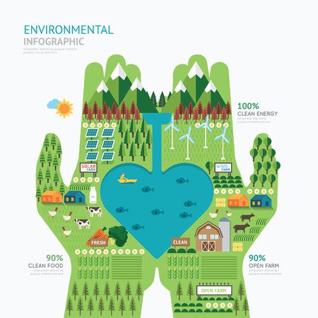 Ilustración de Infographic nature care hand shape template design.save nature concept vector illustration / graphic or web design layout. - Imagen libre de derechos