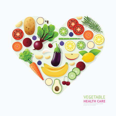 Ilustración de Infographic vegetable and fruit food health care heart shape template design. healthy concept vector illustration / graphic or web design layout. - Imagen libre de derechos