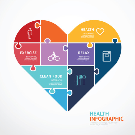 Ilustración de infographic Template with heart shape jigsaw banner . concept vector illustration - Imagen libre de derechos
