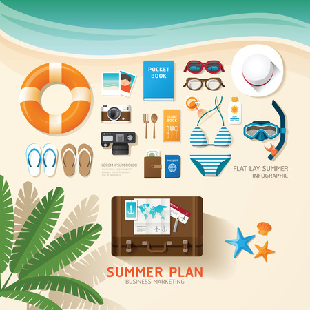 Illustration for Infographic travel planning a summer vacation business flat lay idea. Vector illustration hipster concept.can be used for layout, advertising and web design. - Royalty Free Image