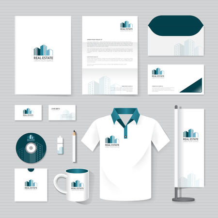 Illustration for Vector brochure, flyer, magazine, folder, t-shirt,cover booklet poster mockup design template/ layout business stationery building, real estate logo  A4 size/ set of corporate identity template. - Royalty Free Image