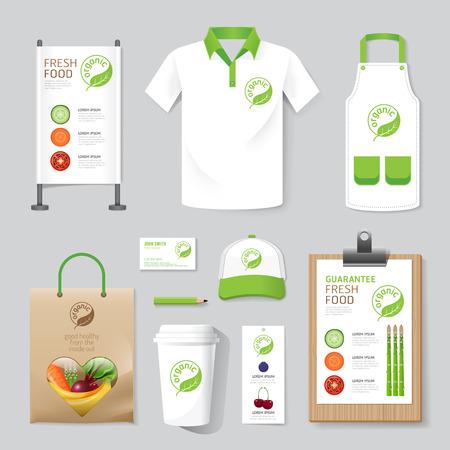 Ilustración de Vector health, beauty shop set flyer, menu, package, t-shirt, cap, uniform design/ layout set of corporate identity mock up template. - Imagen libre de derechos
