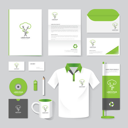 Illustration pour Vector brochure, flyer, magazine, folder, t-shirt,cover booklet poster mockup design template/ layout nature care stationery annual report A4 size/ set of corporate identity template. - image libre de droit