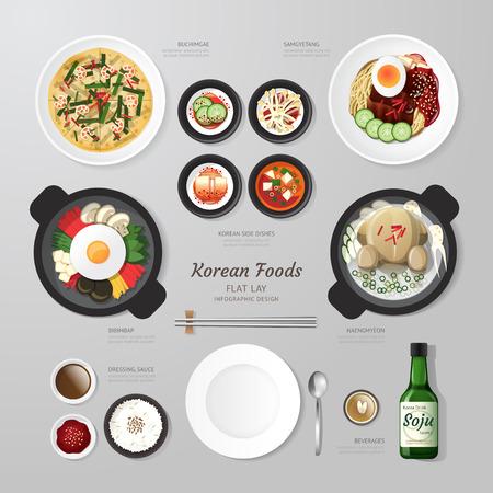 Ilustración de Infographic Korea foods business flat lay idea. Vector illustration hipster concept.can be used for layout, advertising and web design. - Imagen libre de derechos