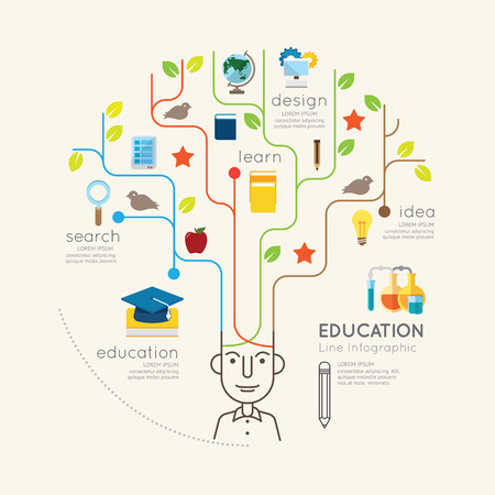 Photo pour Flat line Infographic Education People and Pencil Tree Outline concept.Vector Illustration. - image libre de droit